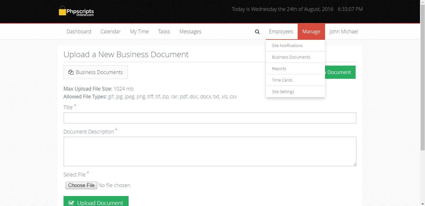 open source based employee time tracking script php based time